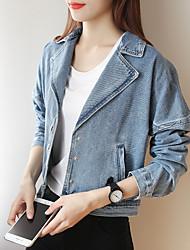 Sign 2017 Spring new women long-sleeved short jacket denim jacket jacket patch applique