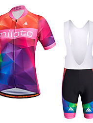 Miloto Cycling Jersey with Bib Shorts Women's Short Sleeves Bike Bib Shorts Sweatshirt Jersey Bib Tights Shorts Shirt Tops Quick Dry
