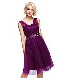 cheap -A-Line Straps Knee Length Tulle Bridesmaid Dress with Beading Flower(s) by XFLS