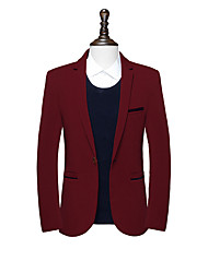 cheap -Men's Daily Going out Simple Vintage Casual Street chic Spring Fall Blazer,Solid Notch Lapel Long Sleeve Regular Cotton