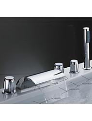 abordables -Moderne Décoration artistique/Rétro Rustique Diffusion large Jet pluie Soupape céramique Trois poignées cinq trous Chrome, Robinet de