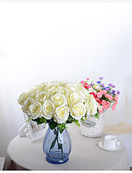 10 Head French Rose Silk Flower Arrangement Artificial Fake Bouquet Wedding Living Room Table Home Garden Decor (White)
