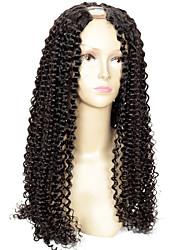 150% Density Remy Virgin Kinky Curly U Part Wig Brazilian Human Hair U Part Wig Kinky Curly Wigs 1*4Inch Left Part For Black Women