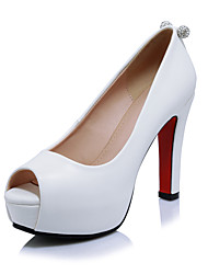 cheap -Women's Heels Spring Summer Fall Club Shoes Microfibre Office & Career Party & Evening Dress Chunky Heel Rhinestone Black Red White