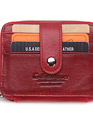 Unisex Men Bags Cowhide Card & ID Holder Ruffles for Casual All Seasons Black Brown Red