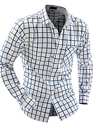 cheap -Men's Cotton Shirt - Plaid Classic Collar