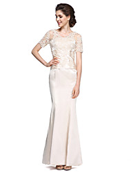 cheap -Mermaid / Trumpet V-neck Ankle Length Charmeuse Mother of the Bride Dress with Lace by LAN TING BRIDE®