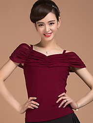cheap -Ballroom Dance Tops Women's Training Elastic Woven Satin Pleated 1 Piece Short Sleeve Natural Top