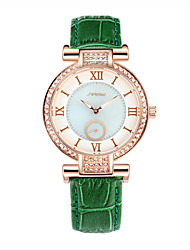 SINOBI Women's Fashion Watch Simulated Diamond Watch Water Resistant / Water Proof Quartz Leather Band Green