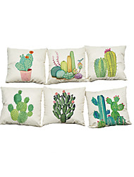 Set of 5 Potted cactus pattern  Linen Pillowcase Sofa Home Decor Cushion Cover