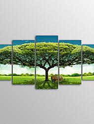 baratos -Laminado Impressão De Canvas Paisagem Realismo, 5 Painéis Tela de pintura Horizontal Estampado Decoração de Parede Decoração para casa