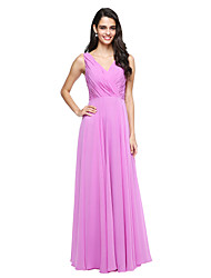 cheap -A-Line V-neck Floor Length Chiffon Bridesmaid Dress with Bow(s) Side Draping Criss Cross by LAN TING BRIDE®