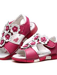女の子 靴 レザー 夏 コンフォートシューズ 赤ちゃん用靴 サンダル フラワー 面ファスナー のために カジュアル ドレスシューズ ピーチ ピンク