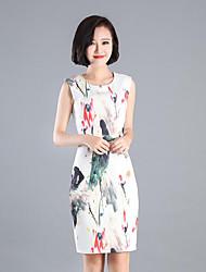 abordables -Mujer Tejido Oriental Algodón Corte Bodycon Vestido - Estampado Tiro Alto Sobre la rodilla