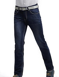 economico -Da uomo A vita medio-alta Casual Anelastico Dritto Jeans Pantaloni,Tinta unita Poliestere Primavera Per tutte le stagioni