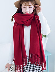cheap -Women Autumn And Winter Pure Red Tassels Scarves Warm Cashmere Scarf