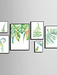 cheap -Framed Canvas Framed Set Abstract Animals Floral/Botanical Wall Art, PVC Material With Frame Home Decoration Frame Art Living Room