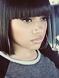 Grade 9A Peruvian Virgin Hair Short Full Lace Bob Wigs With Bang Straight Natural Black Color Hair Virgin Human Hair Lace Wigs