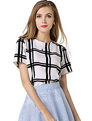 Women's Casual/Daily Cute Spring Summer BlouseSolid Round Neck Short Sleeve Blue Red White Polyester Opaque Thin