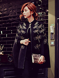 DABUWAWA Women's Going out Casual/Daily Holiday Vintage Punk & Gothic Sophisticated Cloak/Capes,Solid Print Stand Long Sleeve Spring FallDry clean