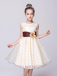 Ball Gown Knee Length Flower Girl Dress - Organza Sleeveless Jewel Neck with Flower by YDN