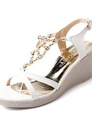 Women's Sandals Summer Slingback Leatherette Dress Casual Wedge Heel Rhinestone Blue Purple White