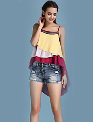 cheap -Women's Going out Holiday Casual Street chic Blouse - Patchwork Strap