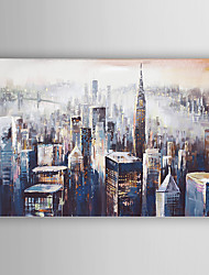 cheap -Hand-Painted  Abstract Building Canvas Oil Painting With Stretcher For Home Decoration Ready to Hang