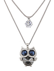cheap -Women's Rhinestone Imitation Diamond Pendant Necklace - Cute Style Fashion Double-layer Owl Necklace For Party Daily