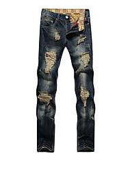 economico -Da uomo A vita medio-alta Casual Media elasticità Dritto Jeans Pantaloni,Tinta unita Cotone Primavera Autunno Per tutte le stagioni