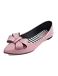 cheap -Women's Flats Comfort PU Spring Casual Walking Comfort Bowknot Flat Heel Black Ruby Green Blushing Pink 2in-2 3/4in