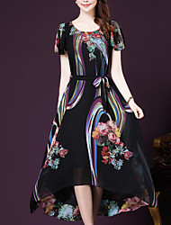cheap -Women's Weekend Going out Sophisticated Plus Size Loose Swing Midi Dress Print Round Neck Short Sleeves Summer