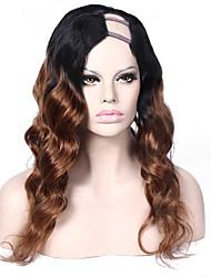 Ombre #1B/#30 Virgin Brazilian U Part Wig Virgin Human Hair 20Inch 1*4 Left Part Loose Wave Upart Wigs Accept Custom