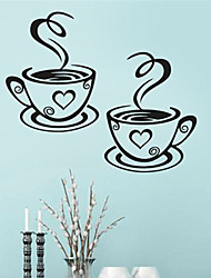 cheap -1Pcs Beautiful Design Coffee Cups Cafe Tea Wall Stickers Art Vinyl Decal Kitchen Restaurant Pub Decor