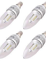 baratos -YouOKLight 4pçs 3W 250 lm E14 Luzes de LED em Vela C37 32 leds SMD 3014 Decorativa Branco Quente AC 110-220 AC 100-240V AC 220-240V AC