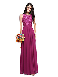 cheap -A-Line Jewel Neck Floor Length Chiffon Lace Bodice Bridesmaid Dress with Sash / Ribbon by LAN TING BRIDE®
