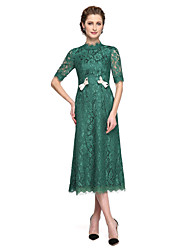 cheap -A-Line High Neck Tea Length Lace Mother of the Bride Dress with Bow(s) Lace Pleats by LAN TING BRIDE®