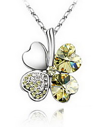 Pendant Necklaces Crystal Alloy Single Strand Basic Yellow Red Pink Light Blue Light Green Jewelry Daily Casual 1pc