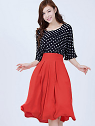 cheap -Women's Daily Going out Vintage Cute Casual Summer T-shirt Skirt Suits,Polka Dot Round Neck Short Sleeve Polyester
