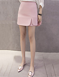 Women's Going out Mini Skirts,Street chic A Line Split Solid Summer