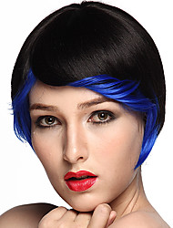 Short Bob Wig Synthetic Fiber Wig Style Black Color Costume Wig Cosplay Wigs With Cap