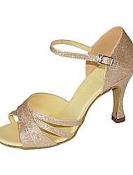 Women's Latin Jazz Salsa Swing Shoes Sparkling Glitter Sandal Heel Practice Beginner Professional Indoor Performance Sequin Buckle