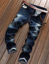 Da uomo Dritto Jeans Chino Pantaloni-Semplice Casual Tinta unita A vita medio-alta Bottoni Cerniera Cotone Micro-elasticoCon molla
