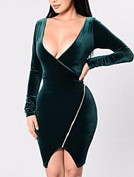 Femme Velours/Asymétrique Moulante Robe Décontracté/Quotidien Soirée Sexy simple,Couleur Pleine V Profond Asymétrique Manches Longues Vert Polyester