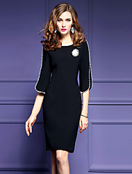 cheap -Women's Plus Size Going out Street chic Shift Dress - Solid Colored Black / Slim