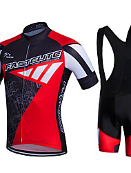 Fastcute Cycling Jersey with Bib Shorts Men's Short Sleeves Bike Bib Shorts Jersey Bib Tights Jacket Shorts Shirt Sweatshirt Tops Quick