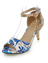 abordables -Mujer Zapatos Purpurina / PU Primavera / Verano Sandalias Tacón Stiletto Punta abierta Lentejuela / Borla / Flor Rojo / Verde / Azul / Fiesta y Noche / Fiesta y Noche