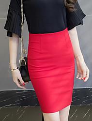 abordables -Mujer Tallas Grandes Faldas,Corte Bodycon Un Color Separado,Sexy Chic de Calle Tiro Medio Trabajo Sobre la Rodilla Cremallera Elasticidad