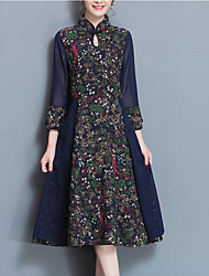 Women's Going out Vintage Sheath Dress,Print Stand Midi ¾ Sleeve Cotton Linen Polyester Blue Red Spring Mid Rise Micro-elastic