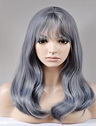 Недорогие -Парики из искусственных волос Свободные волны Искусственные волосы Серый Парик Жен. Средние Без шапочки-основы